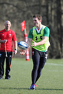 George North passes the ball.Wales rugby team training at the Vale Resort, Hensol near Cardiff on Tuesday 5th March 2013.  pic by  Andrew Orchard, Andrew Orchard sports photography,