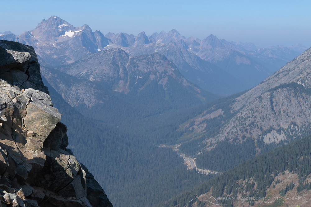 North Cascades Highway and Rainy Pass from Stiletto Peak North Cascades Washington