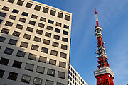 Tokyo Tower with office buildings in the foreground, Azabu, Tokyo, Japan Friday December 2nd 2016