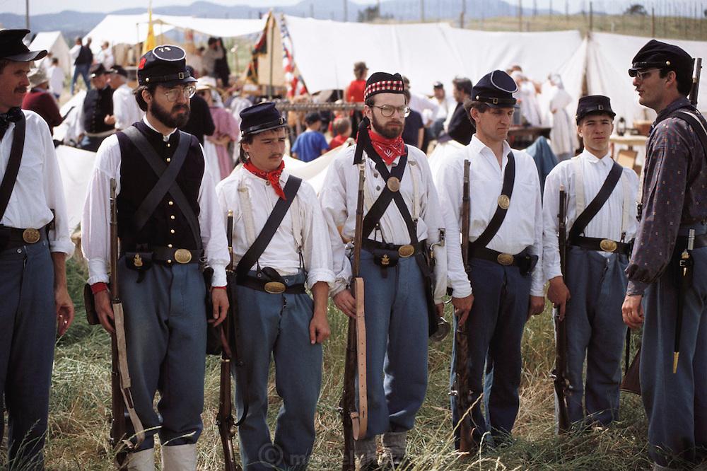 Civil War Club of Napa Valley reenacting a battle at Skyline Park during a weekend long Civil War reenactment.  Napa Valley, California.