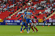 Shrewsbury Town midfielder Josh Laurent (28) chests down the ball during the EFL Sky Bet League 1 match between Charlton Athletic and Shrewsbury Town at The Valley, London, England on 11 August 2018.