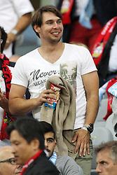 26.08.2015, BayArena, Leverkusen, GER, UEFA CL, Bayer 04 Leverkusen vs Lazio Rom, Playoff, Rückspiel, im Bild Patrick Helmes auf der Tribuene // during UEFA Champions League Playoff 2nd Leg match between Bayer 04 Leverkusen and SS Lazio at the BayArena in Leverkusen, Germany on 2015/08/26. EXPA Pictures © 2015, PhotoCredit: EXPA/ Eibner-Pressefoto/ Schueler<br /> <br /> *****ATTENTION - OUT of GER*****