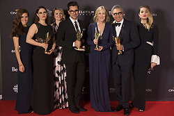 March 13, 2016 - Toronto, on, Canada - Cast members from 'Schitt's Creek' hold their multiple awards at the Canadian Screen Awards in Toronto on Sunday evening, March 13, 2016. (Credit Image: © Chris Young/The Canadian Press via ZUMA Press)