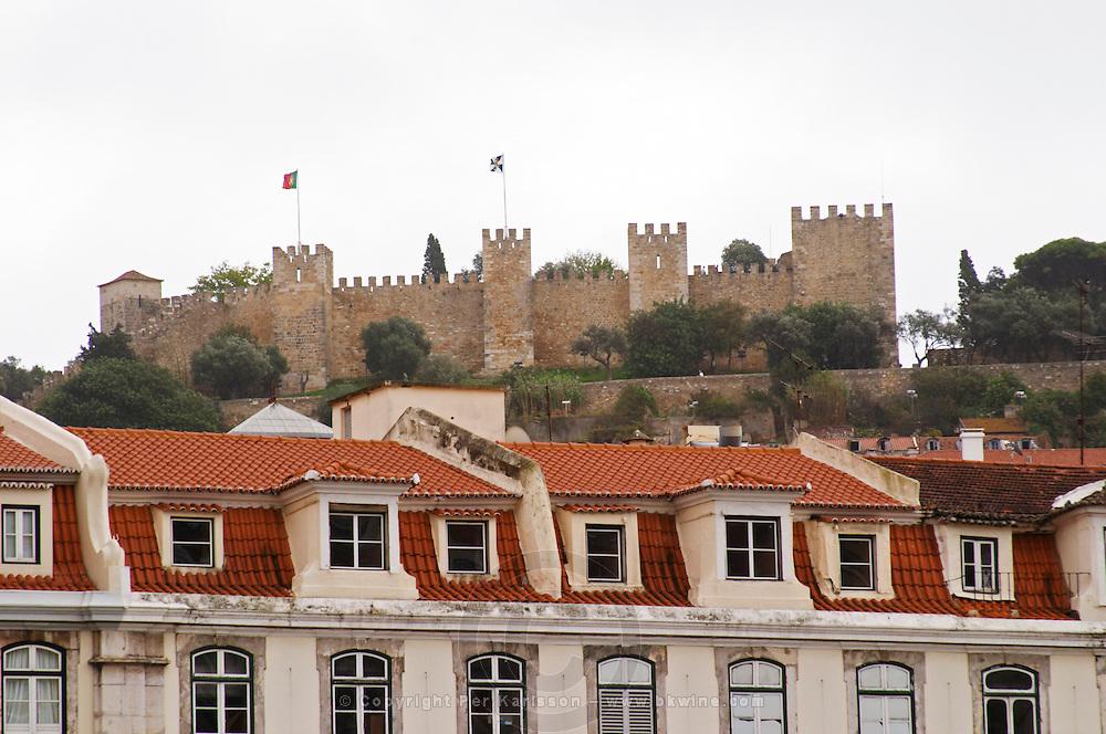 Rooftops and Castelo de Sao Jorge fortress. Lisbon, Portugal