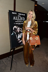 ZOE ONIONS at a screening of Paramount Pictures 'Allied' hosted by Rosie Nixon of Hello! Magazine at The Bulgari Hotel, 171 Knightsbridge, London on 23rd November 2016.