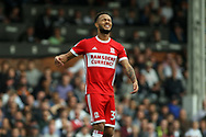 Lewis Baker of Middlesbrough reacts after he misses a chance .EFL Skybet championship match, Fulham v Middlesbrough at Craven Cottage in London on Saturday 23rd September 2017<br /> pic by Steffan Bowen, Andrew Orchard sports photography.