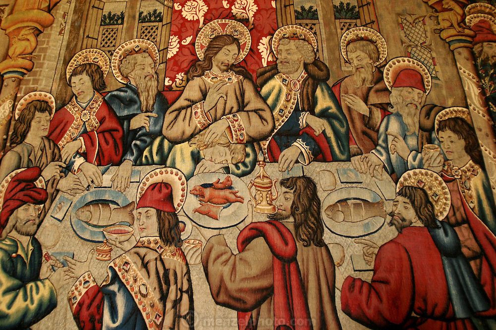 """An interpretation of """"The Last Supper"""" in a Palermo church, Sicily, Italy. (Supporting image from the project Hungry Planet: What the World Eats.)"""
