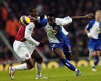 Photo: Olly Greenwood.<br />Arsenal v Blackburn Rovers. The Barclays Premiership. 23/12/2006. Arsenal's Justin Hoyte and Blackburn's Shabani Nonda