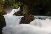 The Little White Salmon River plunges in several dramatic tiers at Spirit Falls in Skamania County, Washington. Both tiers are popular with adventurous kayakers. The top tier plunges 35 feet (10 meters). The Little White Salmon River is a tributary of the Columbia River.