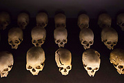 A display of skulls at the Kigali Memorial Centre for 1994 genocide in Rwanda. The centre on is on a site where 250,000 genocide victims were buried in mass graves. The centre opened in 2004 on the 10th Anniversary of the start of the genocide.