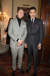 Left to right, DYLAN JONES and HU BING at a cocktail reception hosted by the Woolmark Company, Pierre Lagrange and the Savile Row Bespoke Association to celebrate 'The Ambassador's Project' for London Collections Mens at Marks Club, Charles street, London on 8th January 2016.