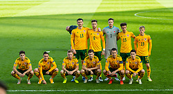 DUBLIN, REPUBLIC OF IRELAND - Sunday, October 11, 2020: Wales players line-up for a team group photograph before the UEFA Nations League Group Stage League B Group 4 match between Republic of Ireland and Wales at the Aviva Stadium. Back row L-R: Kieffer Moore, Joe Rodon, goalkeeper Wayne Hennessey, Ethan Ampadu, Matthew Smith. Front row L-R: Daniel James, Connor Roberts, Joseff Morrell, Ben Davies, Aaron Ramsey, Harry Wilson. (Pic by David Rawcliffe/Propaganda)