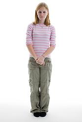 Portrait of a teenage girl in the studio,