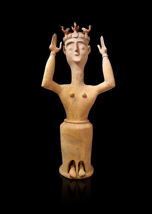 Minoan Postpalatial terracotta  goddess statue with raised arms and bird crown,  Karphi Sanctuary 1200-1100 BC, Heraklion Archaeological Museum, black background. <br /> <br /> The Goddesses are crowned with symbols of earth and sky in the shapes of snakes and birds, describing attributes of the goddess as protector of nature. .<br /> <br /> If you prefer to buy from our ALAMY PHOTO LIBRARY  Collection visit : https://www.alamy.com/portfolio/paul-williams-funkystock/minoan-art-artefacts.html . Type -   Heraklion   - into the LOWER SEARCH WITHIN GALLERY box. Refine search by adding background colour, place, museum etc<br /> <br /> Visit our MINOAN ART PHOTO COLLECTIONS for more photos to download  as wall art prints https://funkystock.photoshelter.com/gallery-collection/Ancient-Minoans-Art-Artefacts-Antiquities-Historic-Places-Pictures-Images-of/C0000ricT2SU_M9w