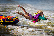 Tubing on the Fox River in De Pere, Wisconsin on Saturday July 14, 2018