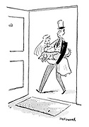 (A husband carries his bride and dog across the threshold of their house)