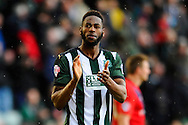 Plymouth Argyle's Jamille Matt applauds the home fans after their 3-2 win over York City in the Sky Bet League 2 match between Plymouth Argyle and York City at Home Park, Plymouth, England on 28 March 2016. Photo by Graham Hunt.