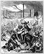 Peterloo Massacre, Manchester, England, 16 August 1819. The 15th Hussars charging an unarmed crowd gathered near St Peter's Church to hear speeches supporting Reform of Parliament and repeal of Corn Laws. 6 of the crowd were killed, about 70 wounded treated in local infirmaries. Illustration by 'Phiz' (Hablot Knight Browne) for 'The Chronicles of Crime' by Camden Pelham (London, 1887).
