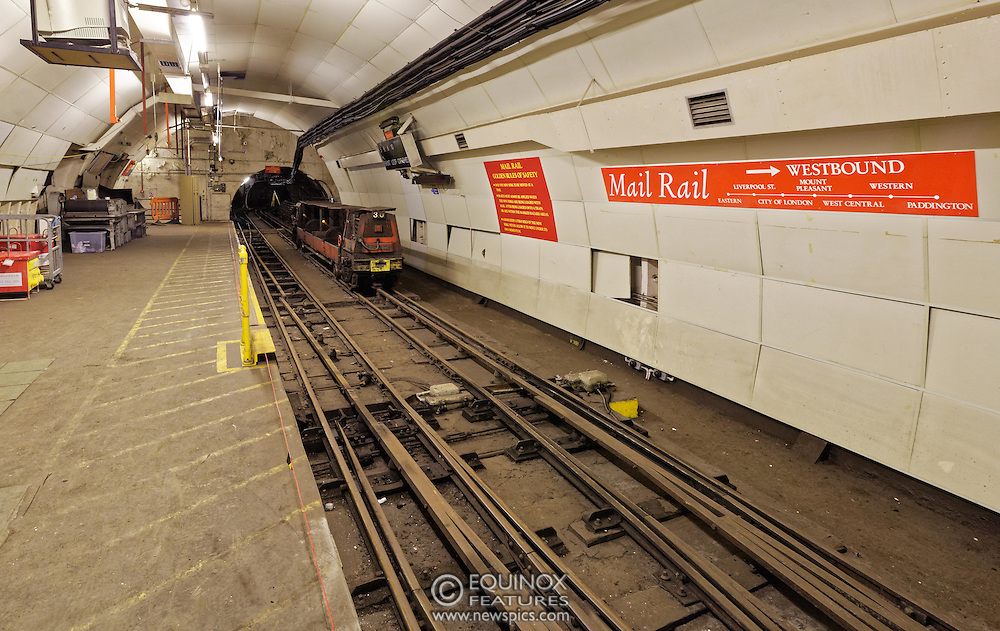 London, United Kingdom - 3 February 2016<br /> PICTURE EXCLUSIVE - The disused Mail Rail underground rail lines and station pictured beneath Mount Pleasant sorting office. Work has commenced on The Postal Museum which will open in 2017 and be located next to Mount Pleasant sorting office in Clerkenwell, London, England, UK. Visitors to the museum will be able to ride on a train on the famous Mail Rail underground rail line. The underground Mail Rail was used for mail distribution to avoid road congestion until 2003 when the lines were closed. Among the supporters of The Postal Museum are Royal Mail, Post Office and the Heritage Lottery Fund.<br /> (photo by: HAUSARTS / EQUINOXFEATURES.COM)<br /> Picture Data:<br /> Photographer: Equinox Features<br /> Copyright: ©2016 Equinox Licensing Ltd. +448700 780000<br /> Contact: Equinox Features<br /> Date Taken: 20160203<br /> Time Taken: 18243671<br /> www.newspics.com