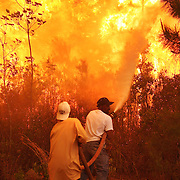 Myrtle Beach, SC - APRIL 23: Scott Vereen (front) and Paul Green spray down the area around their family's home, trying to keep raging wildfires at bay on April 23, 2009 near Conway, SC. South Carolina Gov. Mark Sanford declared a state of emergency Thursday for a coastal county where a wildfire has consumed thousands of acres and destroyed dozens of homes. (Photo by Logan Mock-Bunting)