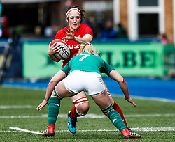 Mel Clay of Wales under pressure from Claire Molloy of Ireland <br /> <br /> Photographer Simon King/Replay Images<br /> <br /> Six Nations Round 5 - Wales Women v Ireland Women- Sunday 17th March 2019 - Cardiff Arms Park - Cardiff<br /> <br /> World Copyright © Replay Images . All rights reserved. info@replayimages.co.uk - http://replayimages.co.uk