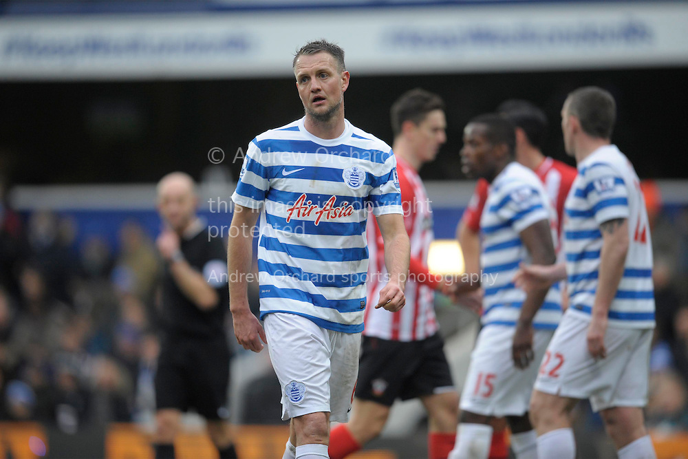 Clint Hill of QPR looks on. Barclays Premier league match, Queens Park Rangers v Southampton at Loftus Road in London on Saturday 7th Feb 2015. pic by John Patrick Fletcher, Andrew Orchard sports photography.