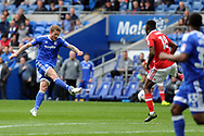 Aron Gunnarsson of Cardiff city  (l) shoots from range and scores his teams 1st goal from outside the box. EFL Skybet championship match, Cardiff city v Nottingham Forest at the Cardiff City Stadium in Cardiff, South Wales on Easter Monday 17th April 2017.<br /> pic by Carl Robertson, Andrew Orchard sports photography.