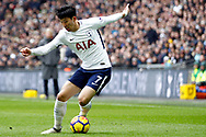 Son Heung-min of Tottenham Hotspur in action. Premier league match, Tottenham Hotspur v Arsenal at Wembley Stadium in London on Saturday 10th February 2018.<br /> pic by Steffan Bowen, Andrew Orchard sports photography.