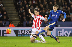 Jamie Vardy of Leicester City (R) has a shot at goal - Mandatory byline: Jack Phillips/JMP - 23/01/2016 - FOOTBALL - King Power Stadium - Leicester, England - Leicester City v Stoke City - Barclays Premier League