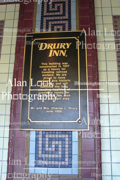 20 October 2010: The Drury Inn (Union Station) is located to the west of Union Station.  The Drury Hotel company has renovated the old YMCA that was built to cater to railroad workers.  As a part of that restoration, there are tiled mosaics in the front entry way explaining the history.  St. Louis Missouri