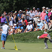 Jordan Spieth, USA, checks his ball on thre seventh hole during the second round of The Barclays Golf Tournament at The Plainfield Country Club, Edison, New Jersey, USA. 28th August 2015. Photo Tim Clayton
