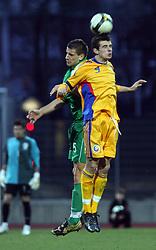 Boris Mijatovic (5)  of Slovenia vs Liuiu Ganea of Romania  during Friendly match between U-21 National teams of Slovenia and Romania, on February 11, 2009, in Nova Gorica, Slovenia. (Photo by Vid Ponikvar / Sportida)