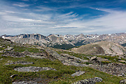 The Wind River Range, mountains in the Shoshone National Forest, Fremont County, Wyoming, USA.