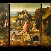 """""""Hermit Saints Triptych"""" panels by Hieronymus Bosch on display at Palazzo Grimani. The  exhibition will be open until 20th March 2011"""