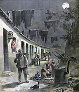 Homes of the Paris rag pickers. Among the poorest inhabitants of the city, they scraped a living scavenging for rags that could be recycled, especially for paper making.  From 'Le Petit Journal', Paris, 27 August 1892. France