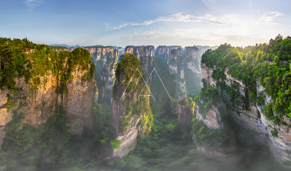 Aerial view of Avatar Mountains, Zhangjiajie National Forest Park, China