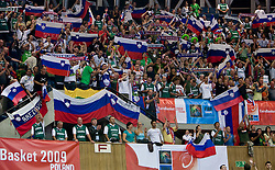 Fans of Slovenia during the EuroBasket 2009 Quaterfinals match between Slovenia and Croatia, on September 18, 2009, in Arena Spodek, Katowice, Poland.  (Photo by Vid Ponikvar / Sportida)