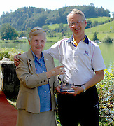 Lucerne, SWITZERLAND, left Di ELLIS and David TANNER, with the FISA Team prize/trophy,  at the 2007 FISA World Cup, Lucerne, on the Rotsee Lake, 15/07/2007  [Mandatory Credit Peter Spurrier/ Intersport Images] , Rowing Course, Lake Rottsee, Lucerne, SWITZERLAND.