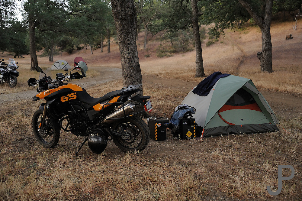 Motorcyle camping with BMW F800GS at 2009 Rawhyde Adventure Rider Challenge competition.