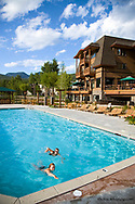 Pool area at The Lodge at Whitefish Lake Resort in Whitefish Montana model released