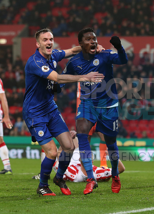 Daniel Amartey of Leicester City (r) celebrates the equalising goal during the English Premier League match at the Bet 365 Stadium, Stoke on Trent. Picture date: December 17th, 2016. Pic Simon Bellis/Sportimage