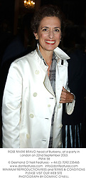 ROSE MARIE BRAVO head of Burberry, at a party in London on 22nd September 2003.<br /> PMW 58