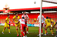 Danny Newton of Stevenage tries to score a goal during the EFL Sky Bet League 2 match between Stevenage and Walsall at the Lamex Stadium, Stevenage, England on 20 February 2021.