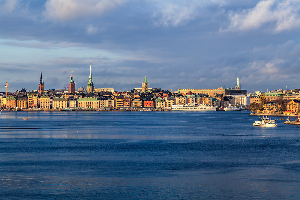 The skyline of the Old Town in Stockholm, Sweden.