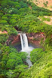 aerial view of Wailua Falls, 173 foot drop, Wailua River State Park, Wailua, Kauai, Hawaii, USA