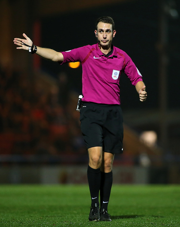 Referee David Coote in action<br /> <br /> Photographer David Shipman/CameraSport<br /> <br /> The EFL Sky Bet League One - Rochdale v Bolton Wanderers - Tuesday 27th September 2016 - Spotland - Rochdale<br /> <br /> World Copyright © 2016 CameraSport. All rights reserved. 43 Linden Ave. Countesthorpe. Leicester. England. LE8 5PG - Tel: +44 (0) 116 277 4147 - admin@camerasport.com - www.camerasport.com