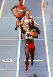 Ethiopa's Genzebe Dibaba wins gold in the Women's 1500m Final during day three of the 2018 IAAF Indoor World Championships at The Arena Birmingham.