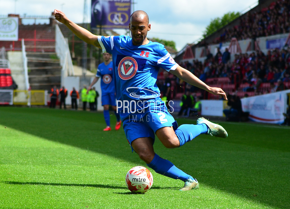 Elliot Omozusi in action during the Sky Bet League 1 match between Swindon Town and Leyton Orient at the County Ground, Swindon, England on 3 May 2015. Photo by Alan Franklin.