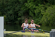 Henley-on-Thames. United Kingdom.  <br /> Silver Goblets and Nickalls' Challenge Cup  [Men's Pair] Club France FRA,  M2-. bow V ONFROY and T ONFROY.<br /> 2017 Henley Royal Regatta, Henley Reach, River Thames. <br /> <br /> 11:19:47  Saturday  01/07/2017   <br /> <br /> [Mandatory Credit. Peter SPURRIER/Intersport Images.