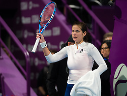 February 12, 2019 - Doha, QATAR - Julia Goerges of Germany celebrates winning her first-round match at the 2019 Qatar Total Open WTA Premier tennis tournament (Credit Image: © AFP7 via ZUMA Wire)